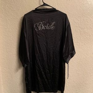 VS Bride Black Silk Robe Kimono